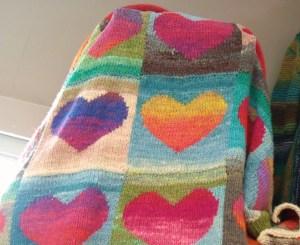 Noro yarn knitting blanket