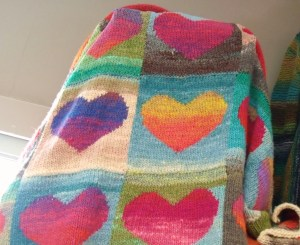 Noro yarn knitting blanket
