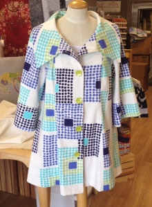 Indygo Junction trench coat made from Amy Butler Love-Stone Path fabric